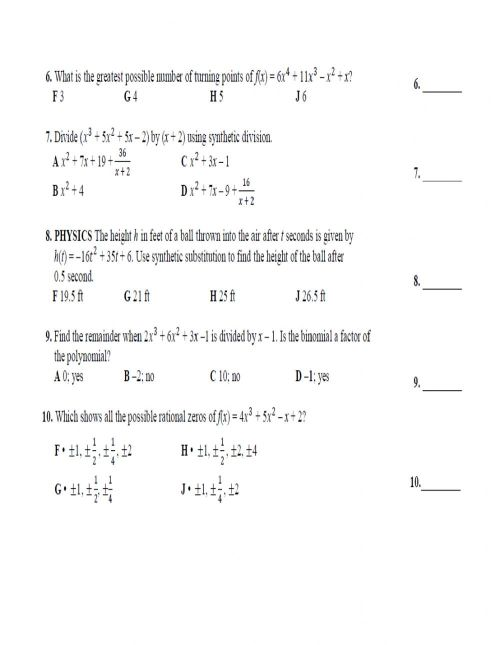 small resolution of Polynomial functions activity