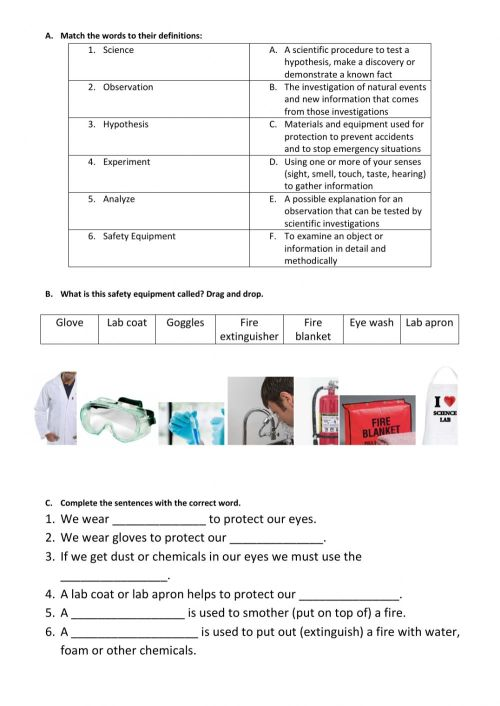 small resolution of Lab Safety Vocabulary worksheet
