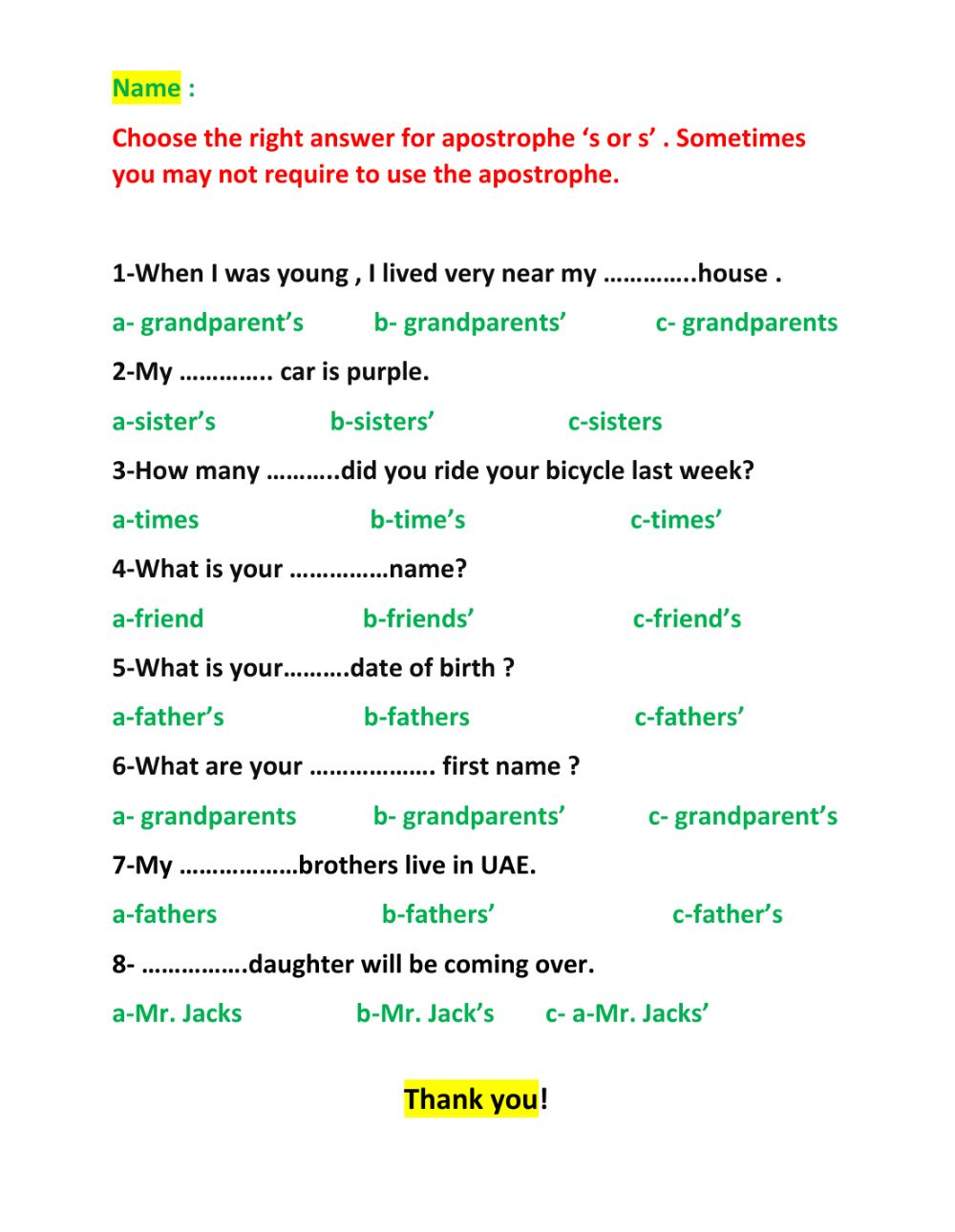 hight resolution of Apostrophes 's and s' worksheet
