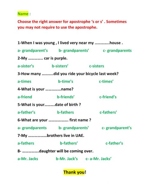 small resolution of Apostrophes 's and s' worksheet