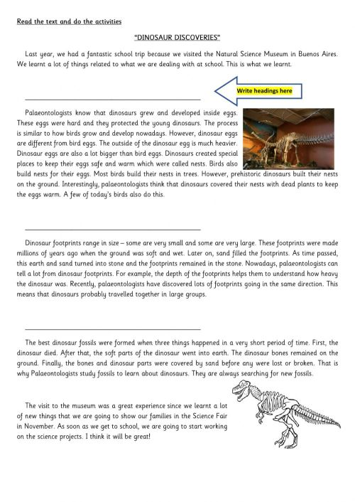 small resolution of Reading Comprehension Dinosaurs worksheet