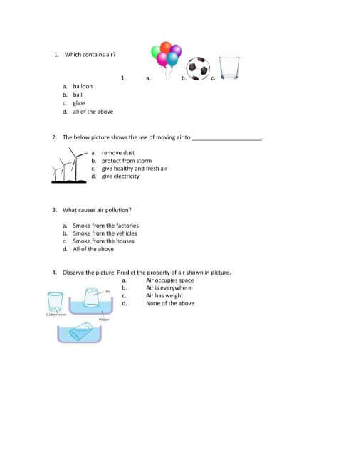 small resolution of Air around us worksheet
