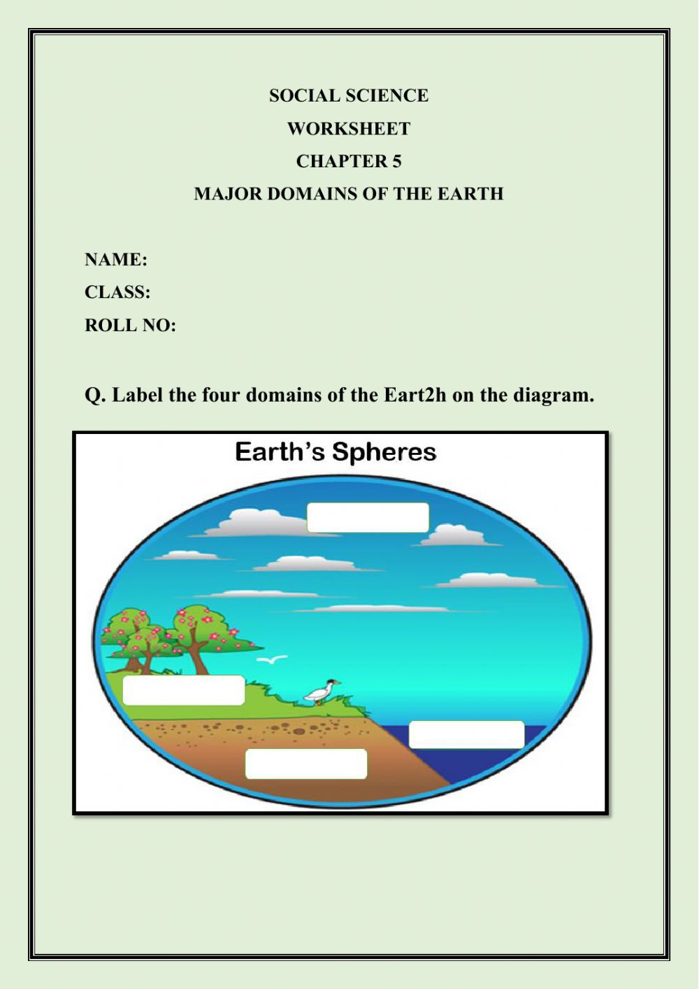 hight resolution of Major Domains of the Earth worksheet