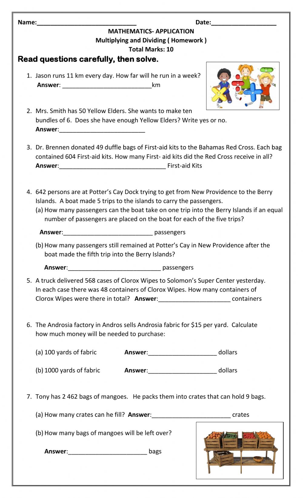 hight resolution of Multiplication and Division Word Problems interactive worksheet