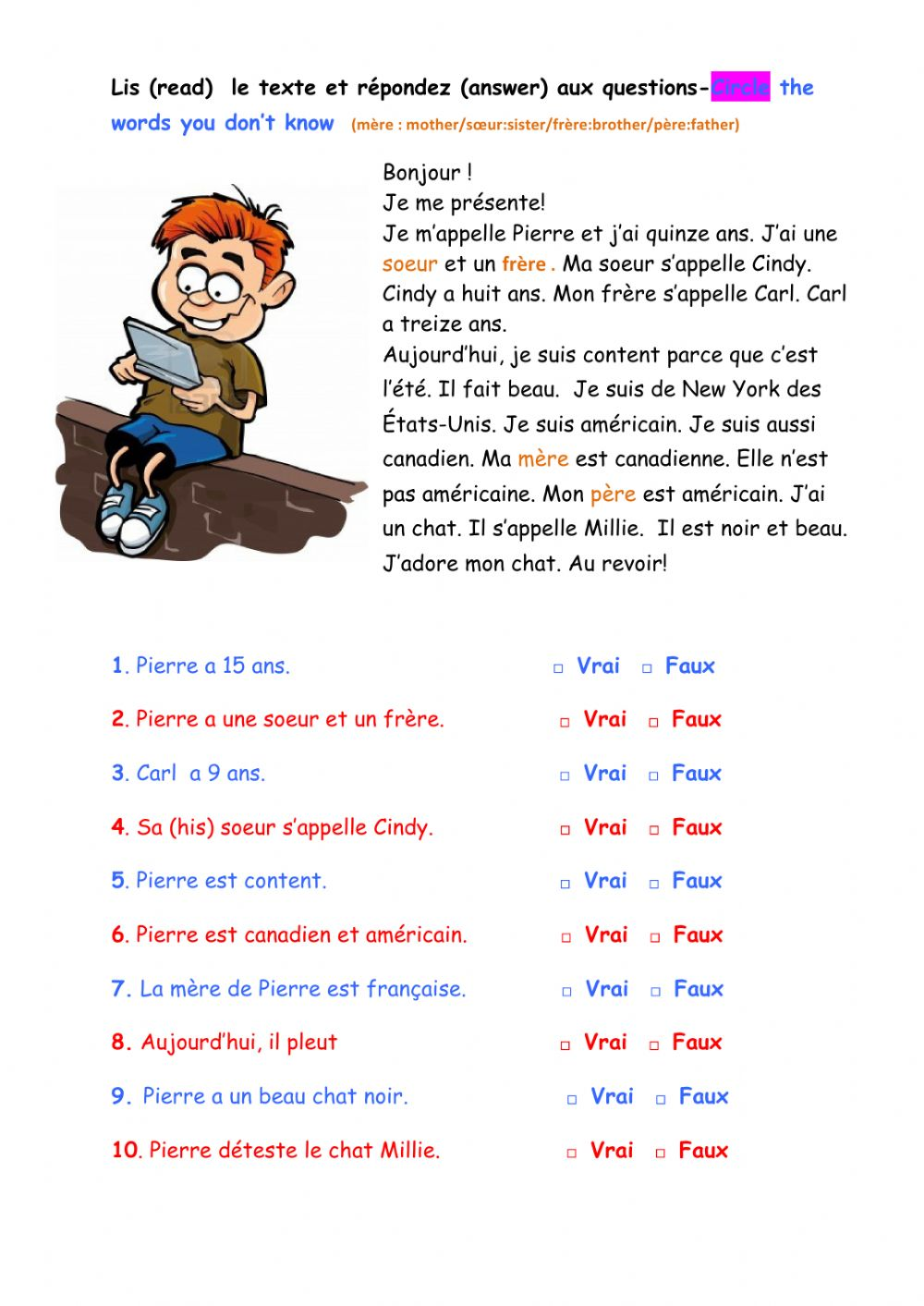 hight resolution of Les salutations-lecture worksheet