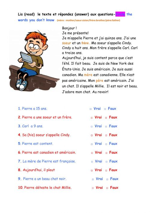small resolution of Les salutations-lecture worksheet