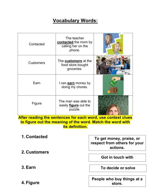 small resolution of Grade 3 context clues 10-12 worksheet