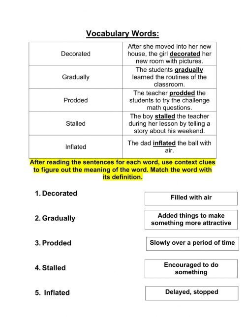 small resolution of Grade 5 context clues 10-19 worksheet