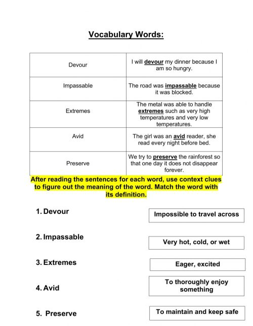 small resolution of Grade 4 context clues 10-19 worksheet