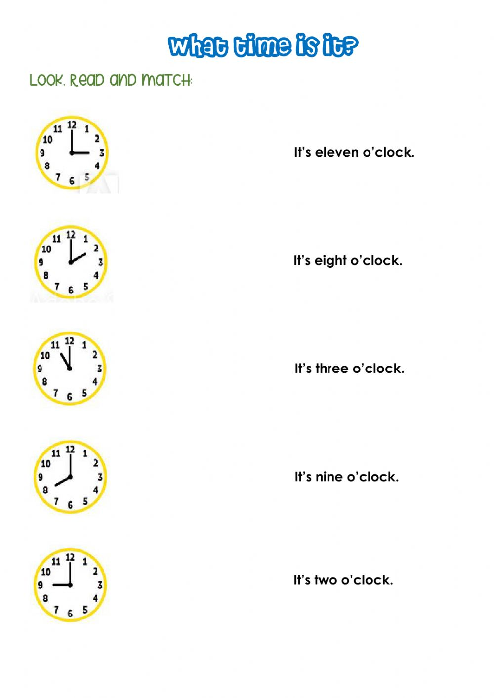 hight resolution of What time is it? worksheet for second grade