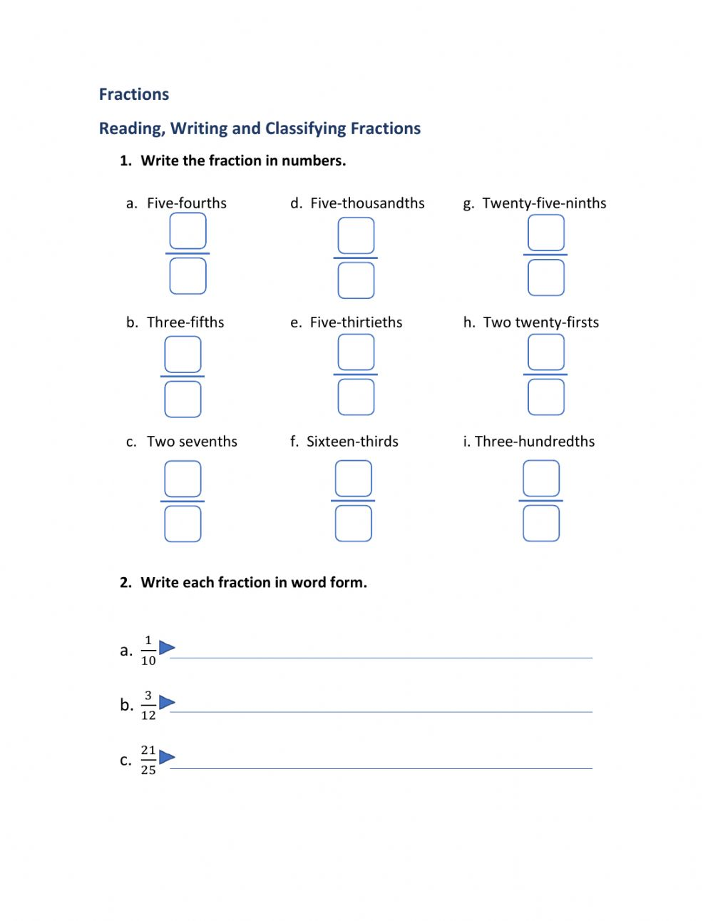 medium resolution of Fractions online exercise for Grade 5