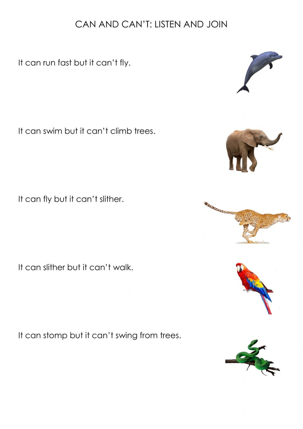 hight resolution of Can and can't online worksheet for First grade