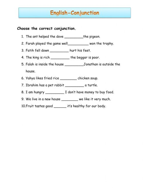 small resolution of Pdf online worksheet: Conjunctions
