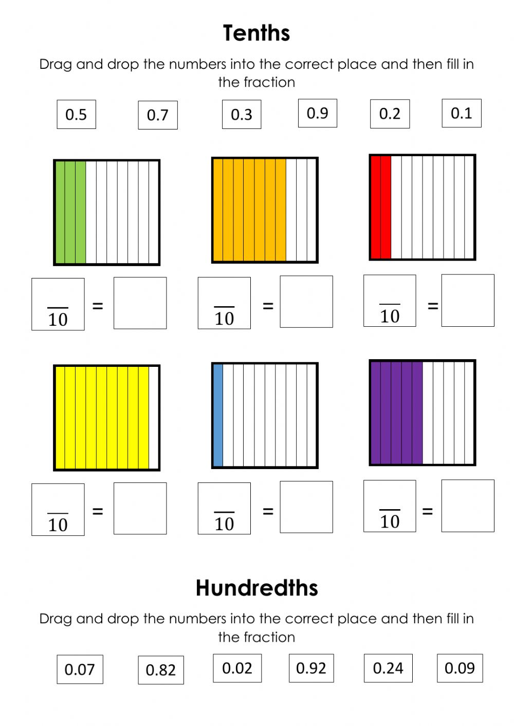 hight resolution of Decimals Tenths and Hundredths worksheet