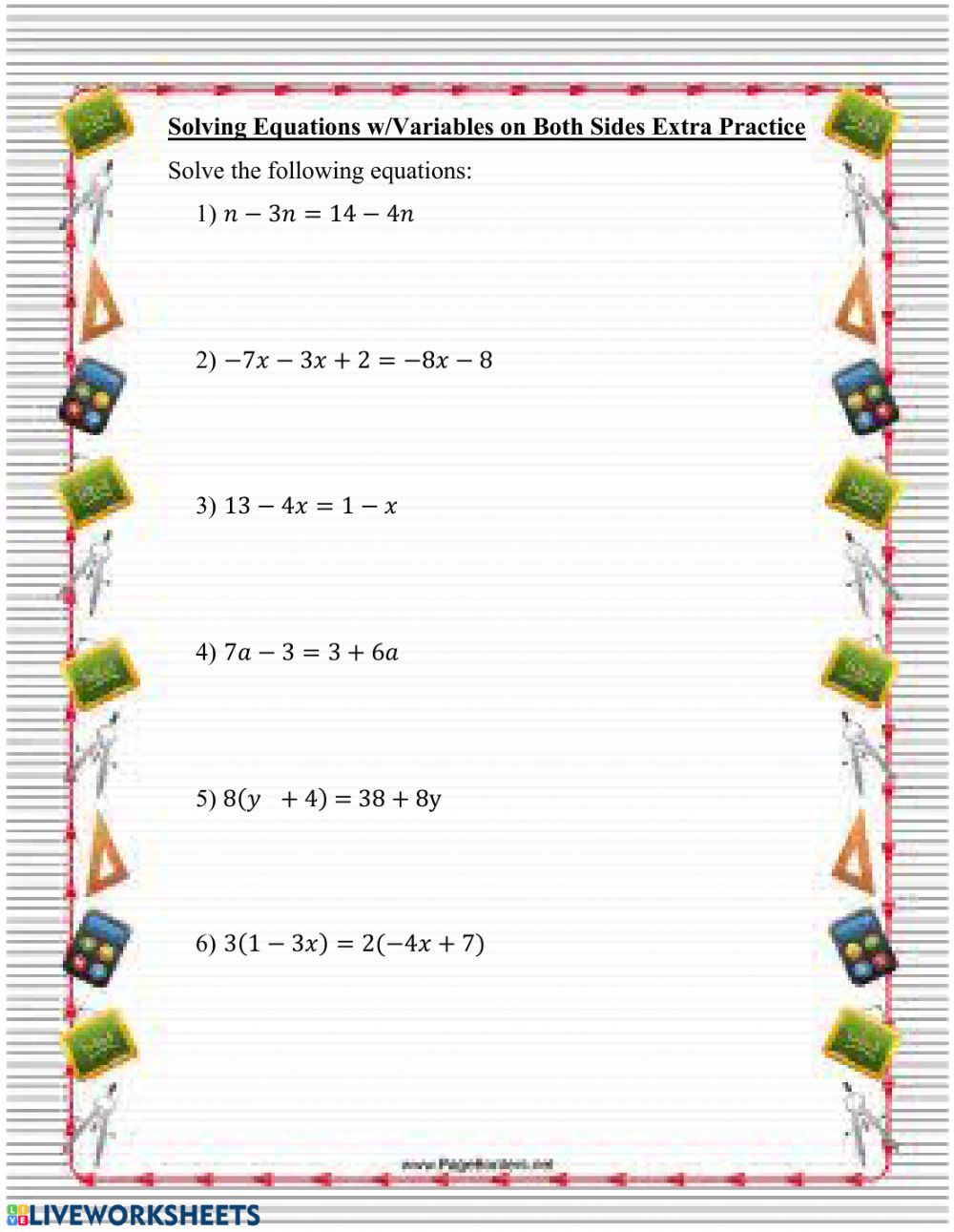 hight resolution of Solving Equations w- Variables on Both Sides worksheet