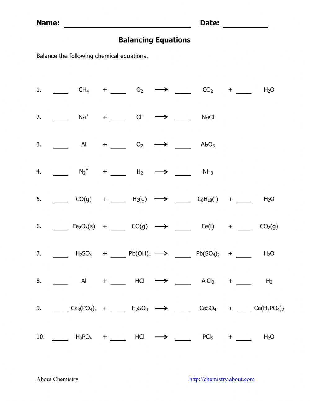 hight resolution of Balancing Chemical Equation worksheet