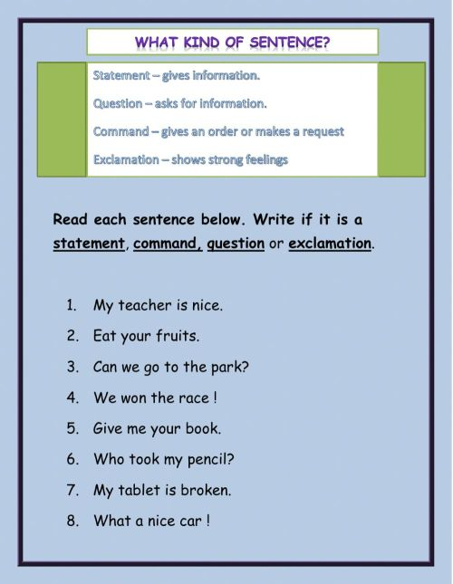 small resolution of What kind of sentences worksheet