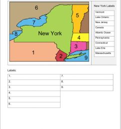 NEW York land and water borders worksheet [ 1174 x 1000 Pixel ]