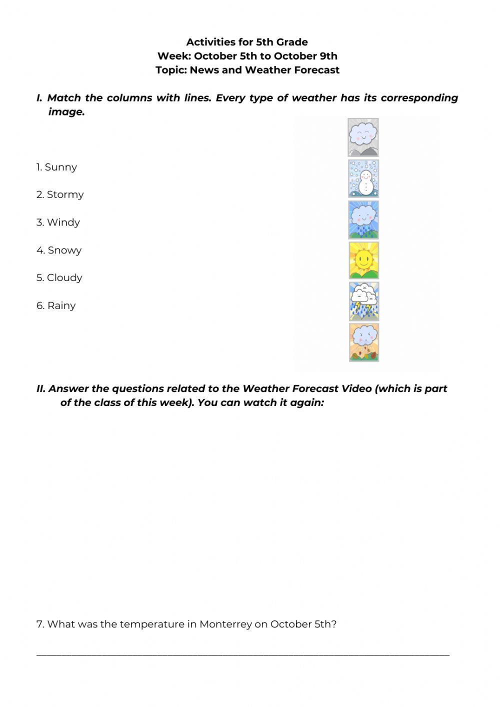 hight resolution of Activities for 5th Grade - October 6th worksheet