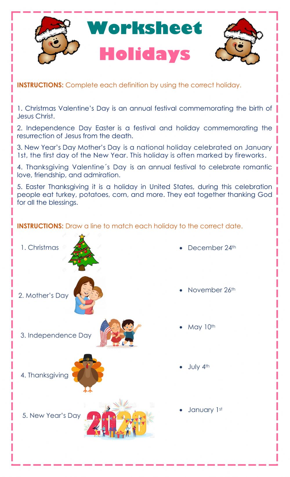 hight resolution of Holidays interactive worksheet for 5th grade
