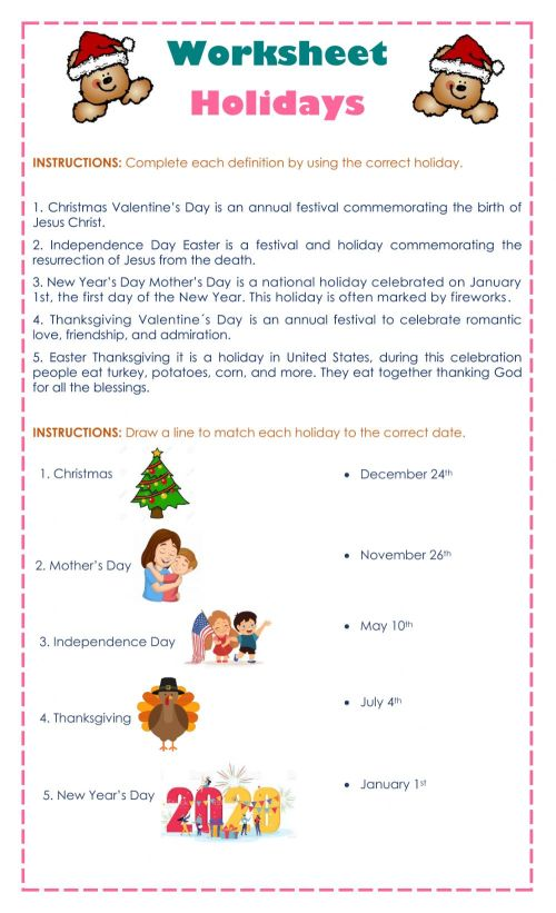 small resolution of Holidays interactive worksheet for 5th grade