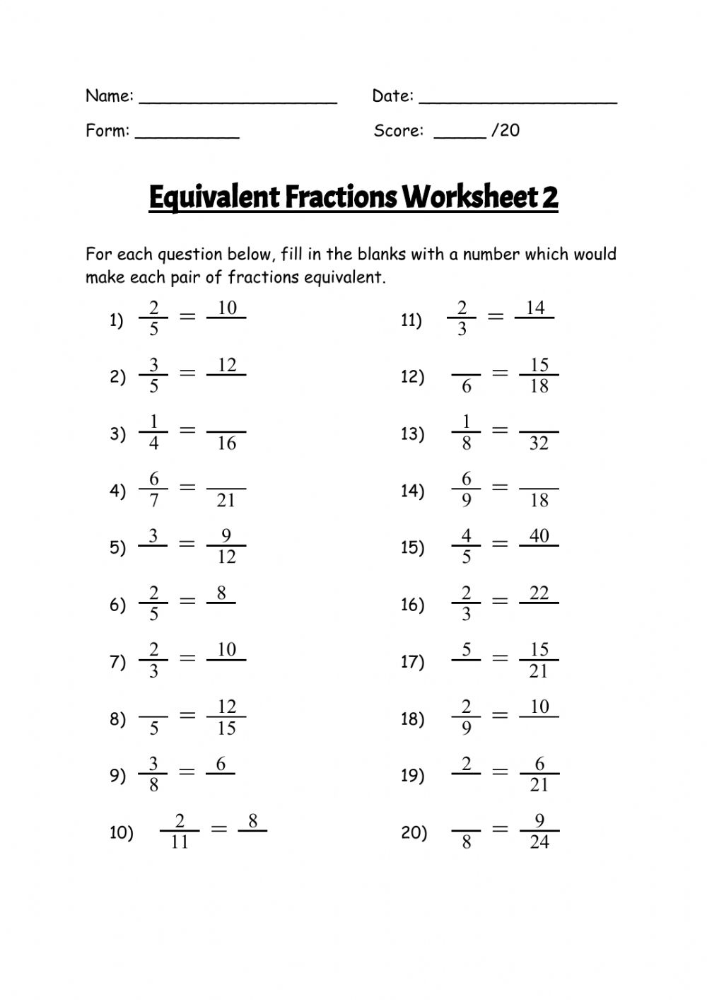 hight resolution of Equivalent Fractions Worksheet Grade 5 Pdf