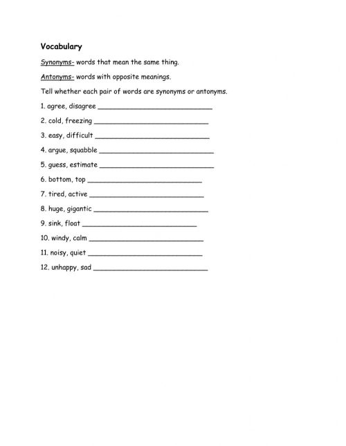 small resolution of Synonyms and antonyms online worksheet for STD 1
