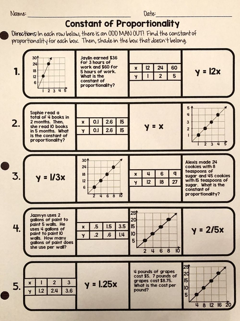 hight resolution of Constant of Proportionality - Odd Man Out worksheet