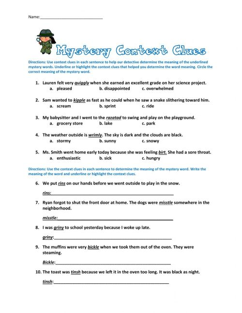 small resolution of Context Clues Quiz worksheet