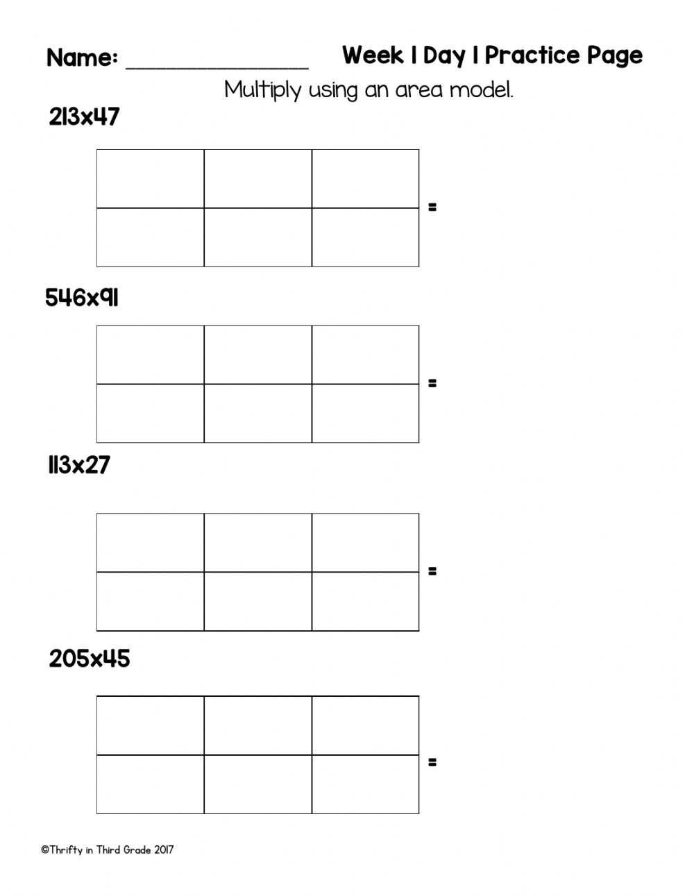 hight resolution of Multiply Using Area Models worksheet
