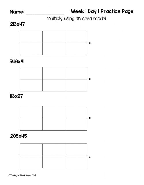 small resolution of Multiply Using Area Models worksheet