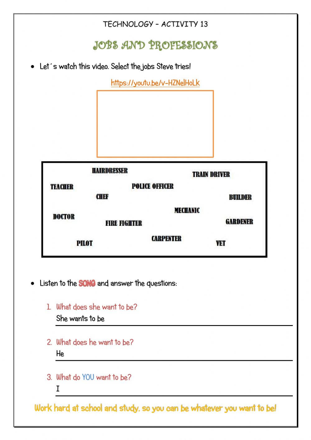 hight resolution of Jobs and professions-4th form worksheet