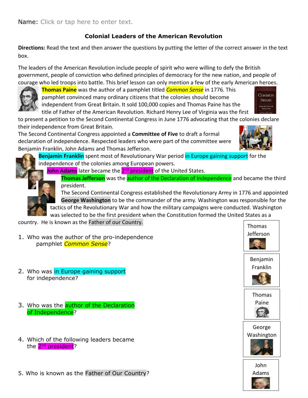 hight resolution of Colonial Leaders of the Revolutionary War w visuals worksheet