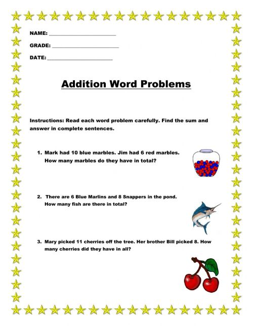 small resolution of Grade 2 word problems worksheet