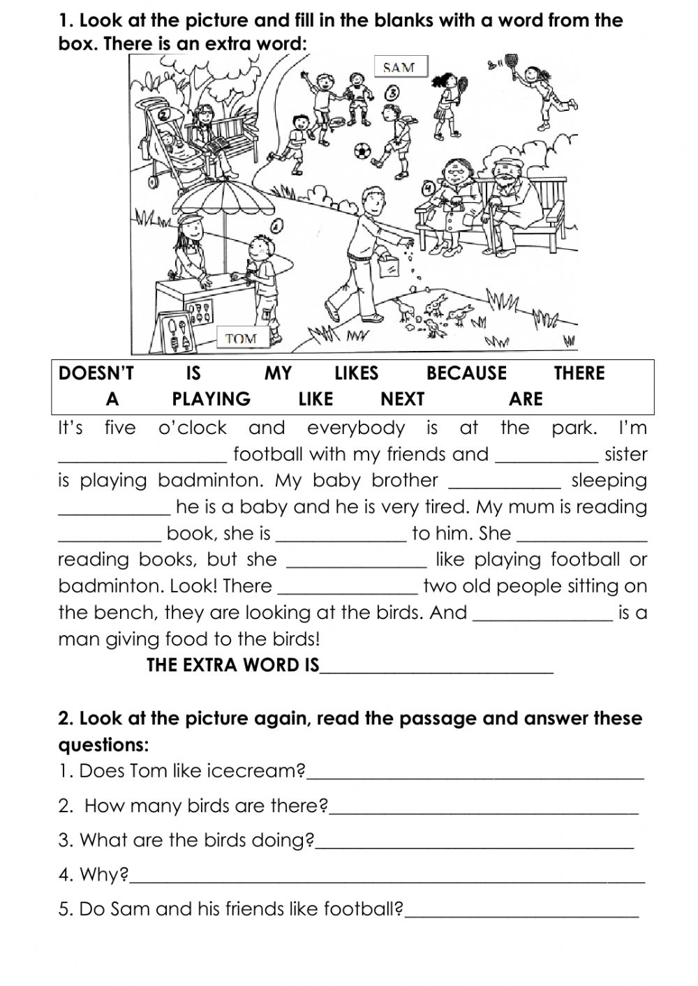medium resolution of Cloze test for kids worksheet