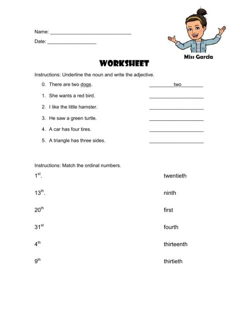 small resolution of Adjectives - ordinal numbers worksheet
