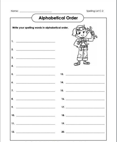 small resolution of Alphabetical Order 2 C-2 4th Grade worksheet