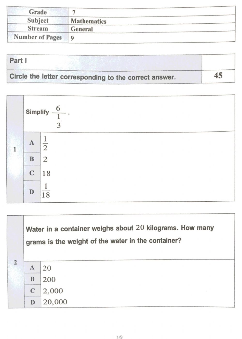 hight resolution of Grade 7 Term 1 review worksheet