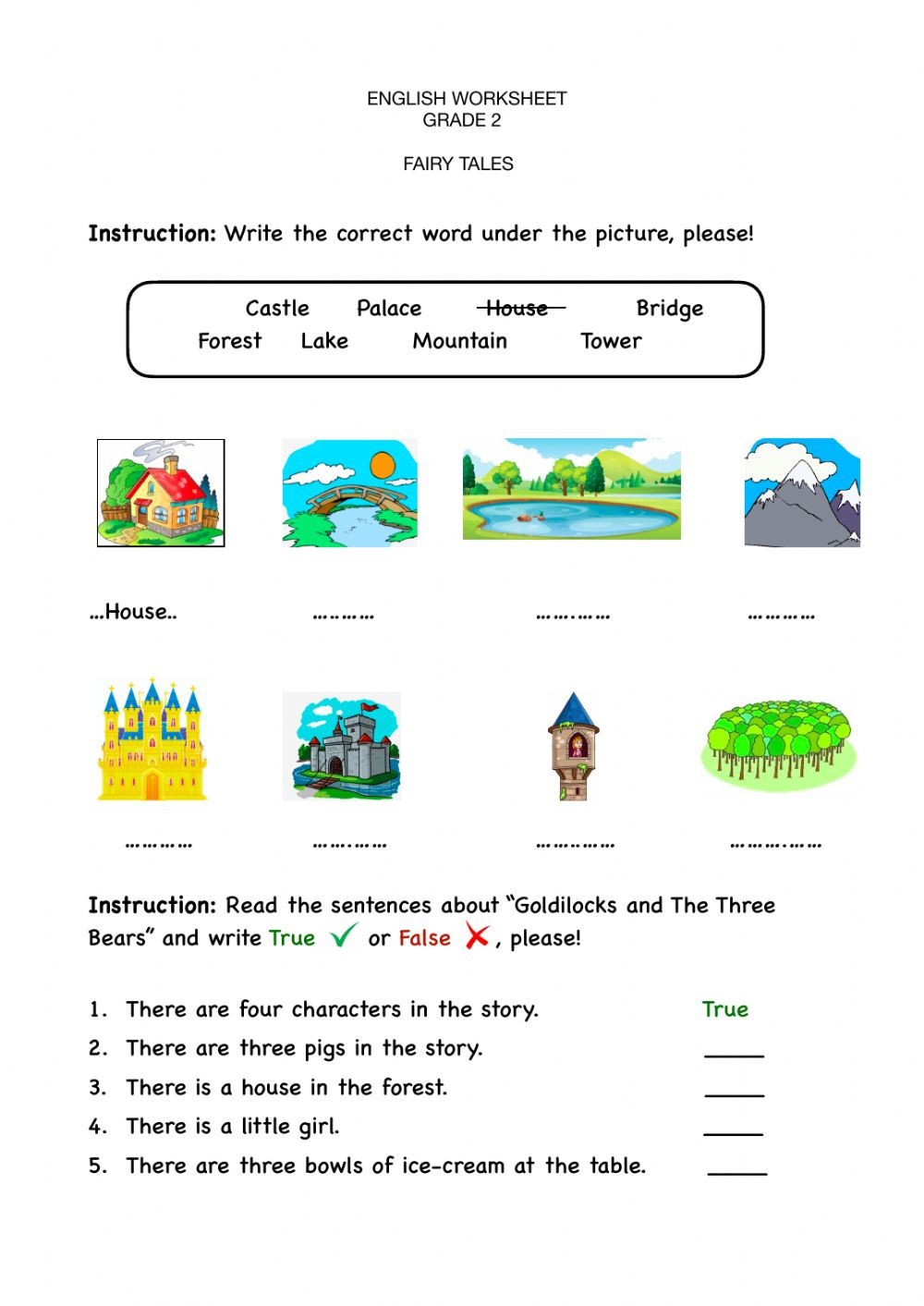 hight resolution of Fairy tales worksheet for grade 2