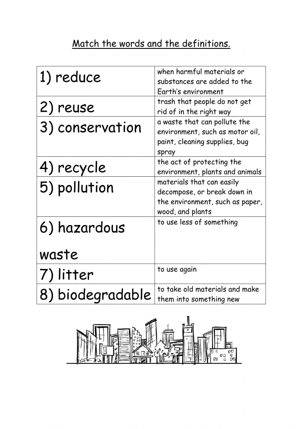 hight resolution of Pollution activity for 4th or 5th grade