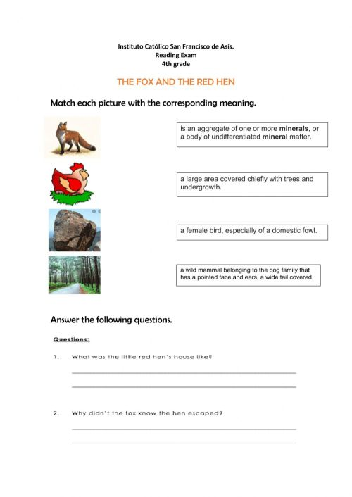 small resolution of The fox and the little red hen worksheet
