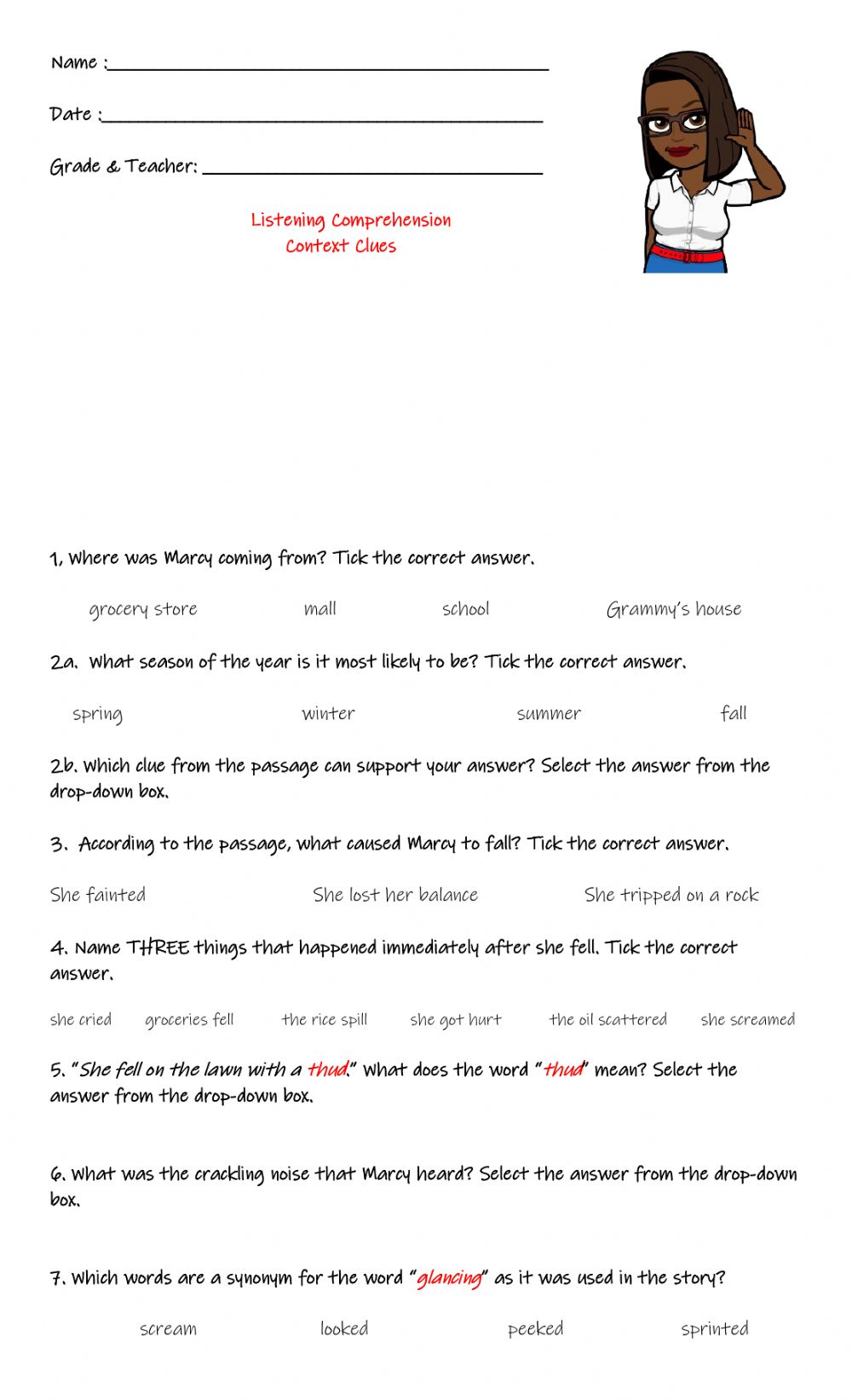 hight resolution of Listening Comprehension: Context Clues worksheet