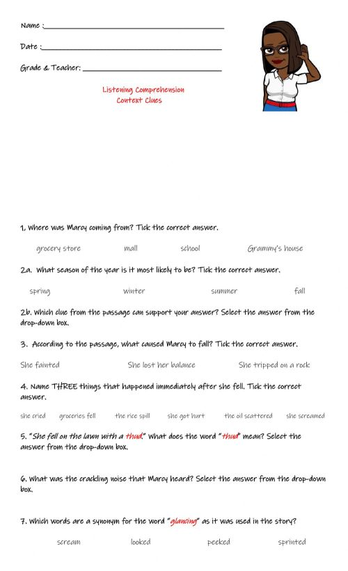 small resolution of Listening Comprehension: Context Clues worksheet