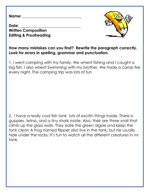 small resolution of Editing \u0026 Proofreading worksheet