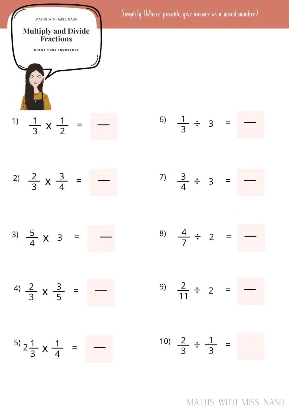 hight resolution of Multiply and Divide fractions worksheet