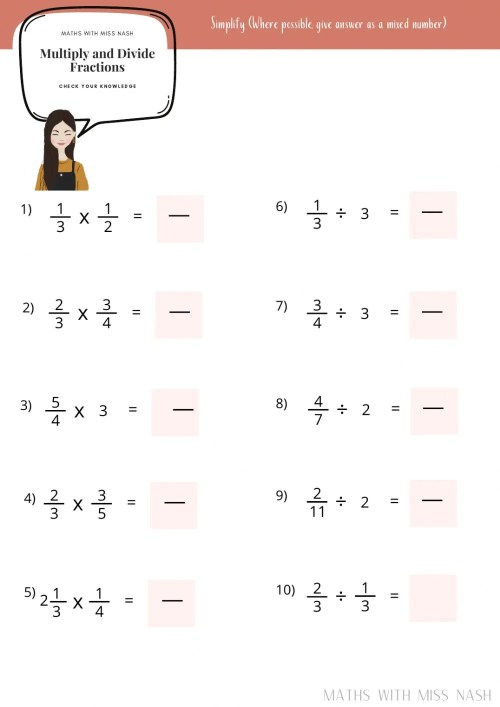 small resolution of Multiply and Divide fractions worksheet