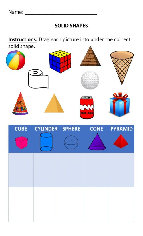 small resolution of Solid Shapes (3D shapes) worksheet