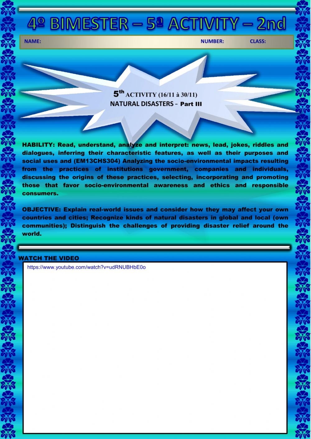 hight resolution of 5th ACTIVITY (16-11 à 30-11) NATURAL DISASTERS – Part III – 2nd GRADE – 4th  BIMESTER worksheet