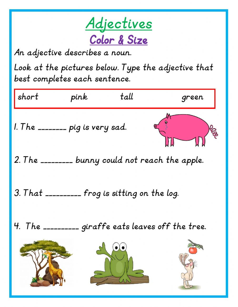 medium resolution of Adjectives online exercise for grade 1