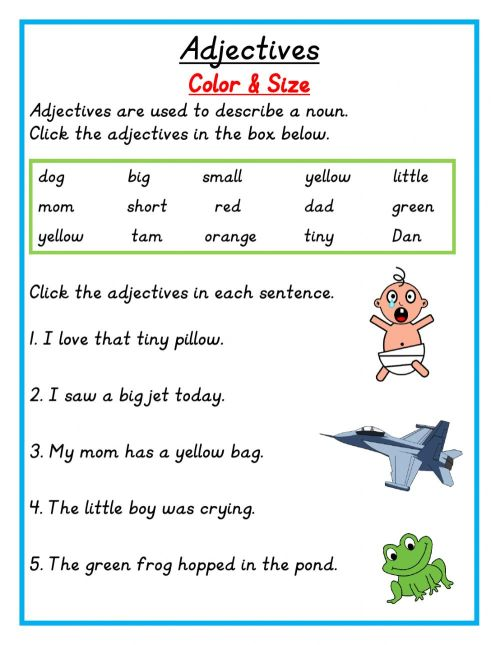 small resolution of Adjectives online exercise for grade 1